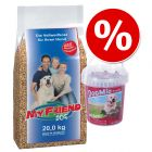 Bosch My Friend Futter ekon.pak. 20kg + 500 g DogMio Snacks