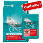 Croquettes PURINA ONE 3 kg + 4 x 85 g de nourriture humide offerts !