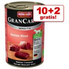10 + 2 gratis! Animonda GranCarno Sensitive, 12 x 400 g