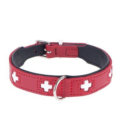 Swiss Red Leather Dog Collar