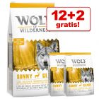 12 + 2 kg gratis! 14 kg Wolf of Wilderness Tørrmat