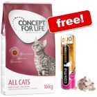 9kg/10kg Concept for Life Dry Cat Food + 26g Cosma DUO Chicken & Tuna Snackies Free!*