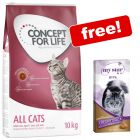 9kg/10kg Concept for Life Dry Cat Food + My Star Malt Creamy Snack Free!*